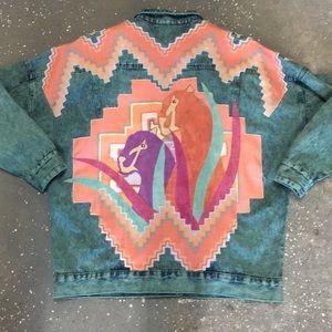 vintage tie dye 80s abstract jean jacket